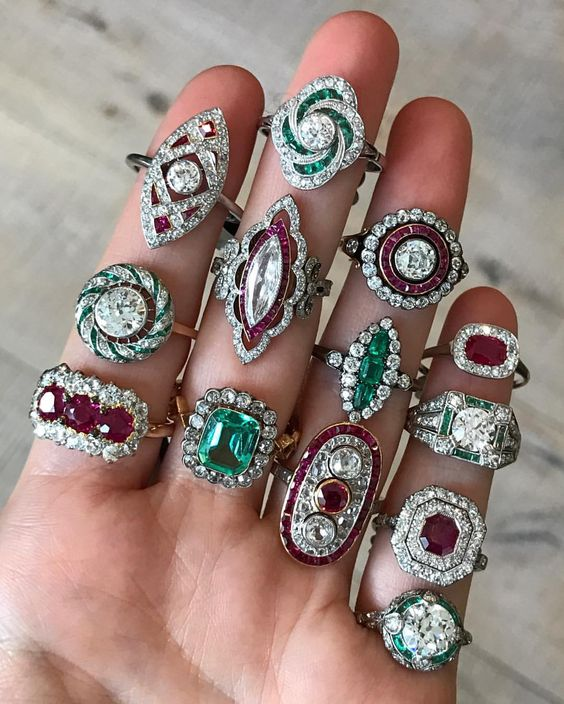 Ruby and Emerald Diamond Rings