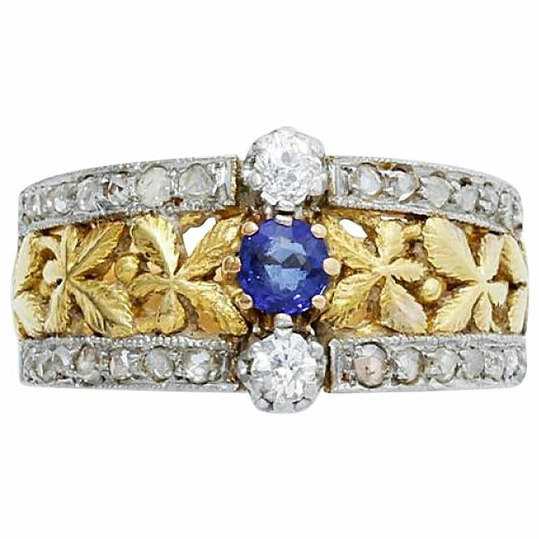 1900s Art Nouveau Sapphire and Diamond Mounted in Gold and Platinum Ring