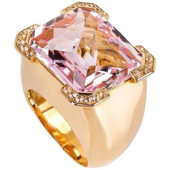 20.88 Carats Kunzite Diamond 19.2 k Gold Ring $12,000