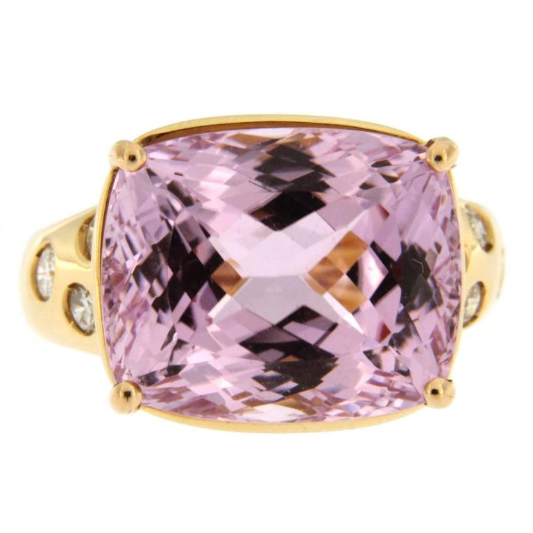Jona Kunzite Diamond 18 Karat Yellow Gold Ring $10,778.24