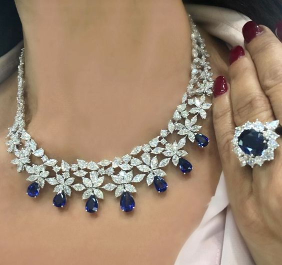 Sapphire and Diamond Necklace and Ring
