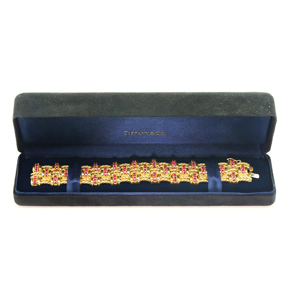 """Vintage Tiffany & Co Ruby Bracelet in 18Kt Yellow Gold 9.00ctw 6.75"""" with Box"""