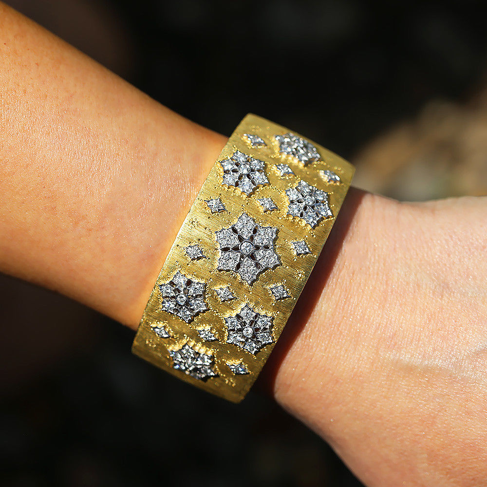 Diamond Cuff Bracelet by H.Gold 18Kt White & Yellow Gold Textured 3.00ctw