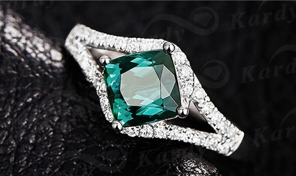 Rare Natural Blue Green Tourmaline Gemstone Diamond 14K White Gold Ring