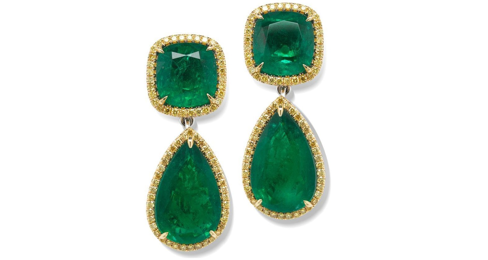 36.38ct Natural Emerald Fancy Yellow and White Diamond 18k gold earrings GIA
