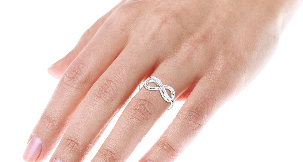 Luxurman Love Quotes: Sterling Silver Infinity Diamond Ring