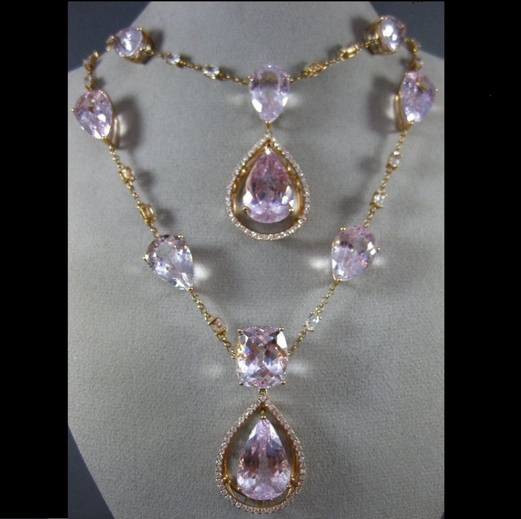 Estate 20.30 Ct Dimaond Kunzite and Topaz 18K Rose Gold Necklace