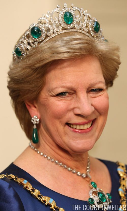 Anne-Marie of Greece wears the Greek Emerald Parure Tiara during the Ruby Jubilee celebrations for her sister, Queen Margrethe II of Denmark, in Copenhagen.