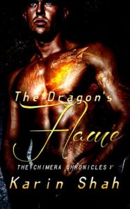 A bare-chested man, flames burninging in his chest in the shape of a dragon's head