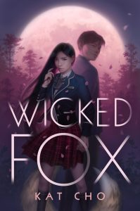 Cover of book shows Korean teen girl with her back to a boy. Behind them, a blood moon.