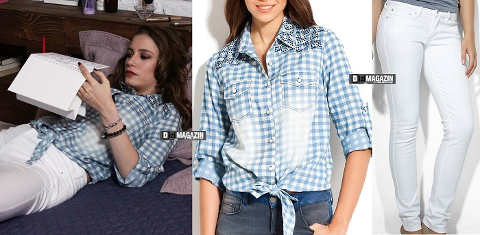 Medcezir Mira - Mavi Gömlek Twist - Beyaz Pantolon Levis