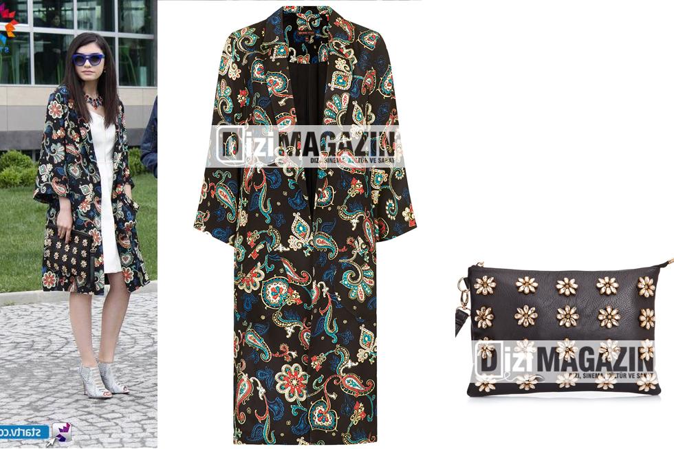 Eylül Çiçek Desenli Çanta ve Uzun Ceket