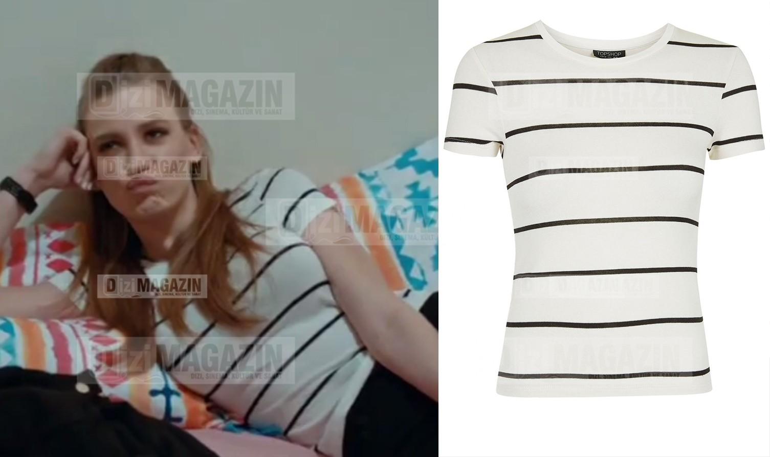 Mira Beyaz Renkli Siyah Çizgili Tişört