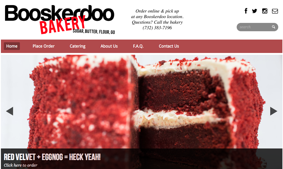 Screenshot of Booskerdoobakery.com website