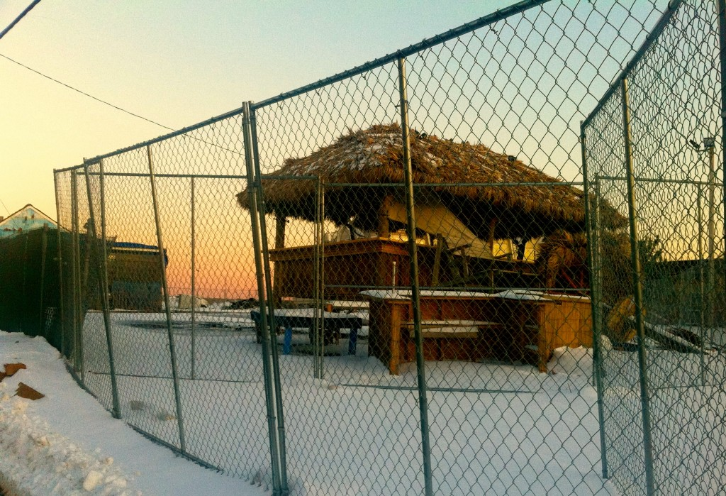 A snow-capped Donovan's Reef Tiki Bar the winter after Hurricane Sandy Photo/Elaine Van Develde