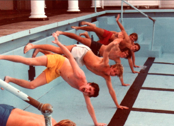 Taking a dive in the Monmouth Beach Club pool with some RFH guys in the 1970s. Photo/RFH Class of '79 reunion slideshow