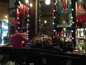 The bar greets you like a colorful Italian Mardi Gras - and in the background, Teddy Pendergrass, Barry White and crazy obscure disco songs straight from Studio 54.  Is this heaven?