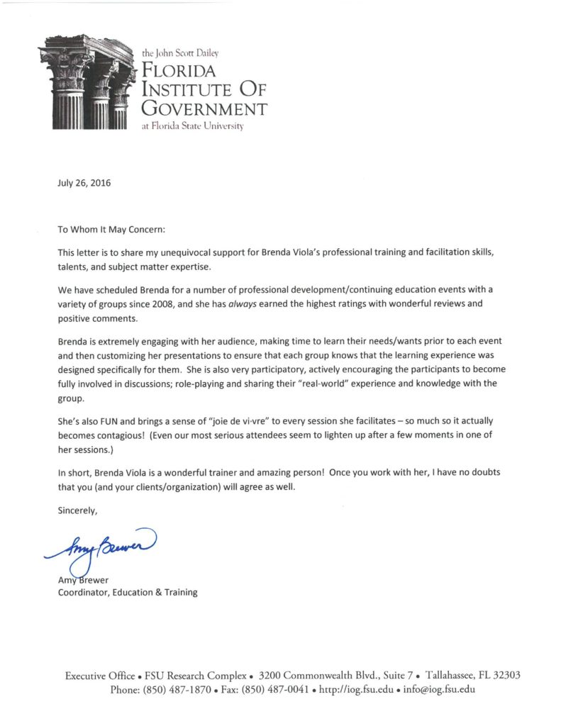 Brenda Viola Letter of Recommendation