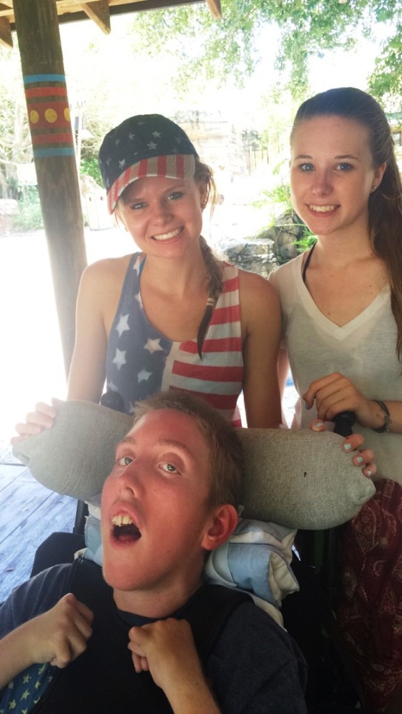 Emily and Caitlyn with their brother, David.