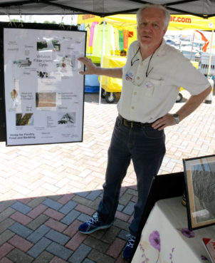 Bob Clayton, who built Florida's first house made of hemp, speaks to a visitor about the virtues of hemp at the Fort Pierce City Marina on June 12, 2016. He was in the Florida Cannabis Action Network's tent. J.D. VIVIAN Bob Clayton has been asked to serve as director of the new Florida Hemp Industries Association. / J.D. Vivian