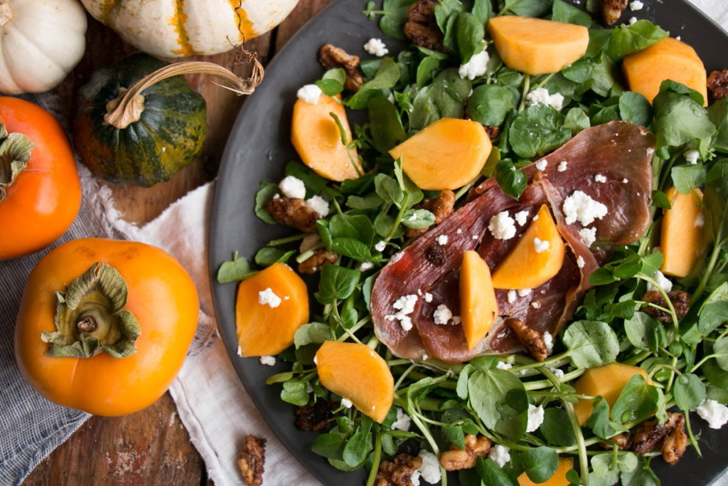 Persimmons and Watercress Salad - Thanksgiving Sides