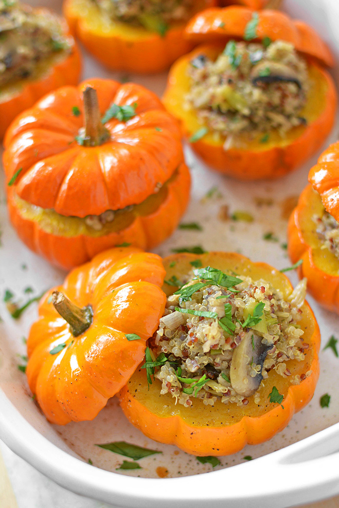 Thanksgiving Sides - Mushroom Quinoa Stuffed Mini Pumpkins