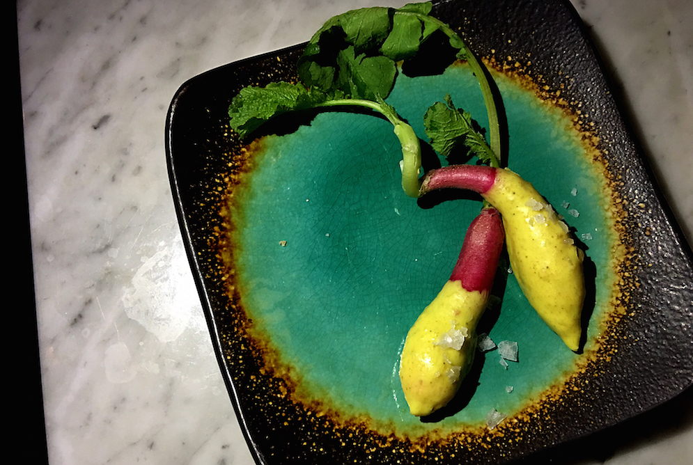 Avignon radish dipped in Vandouvan butter at A Rustic Root