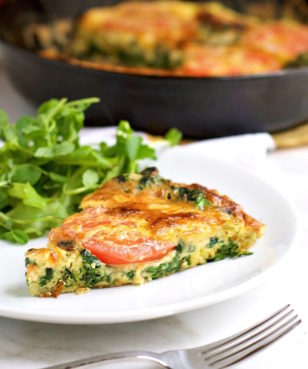 Spinach, Tomato and Smoked Gouda Frittata _ brunch recipes
