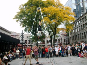 Straight-jacket escape performer, Boston, Oct., 2013. Photo by Mary Dessein