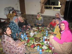 Sr. Martha Ann Kirk enjoys a feast in northern Iraq during her research study on peace building efforts by Muslims inspired by Fethullah Gülen.