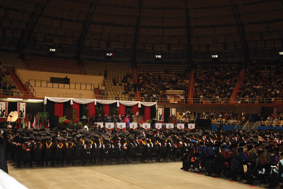 Approximately 750 students participated in the Fall 2012 Commencement ceremony at Joe and Harry Freeman Coliseum held Sunday, Dec. 16.