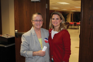 (Pictured L-R) Brig. Gen. Sue Turner and Dr. Lisa McNary, director of alumni and parent relations, share a photo during the Veterans Day Luncheon held Nov. 11.