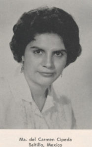 Del Carmen Cepeda as photographed for IWC's 1960s yearbook.
