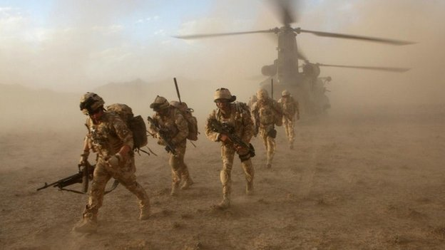 Soldiers of Scottish battalion The Black Watch serving in Afghanistan