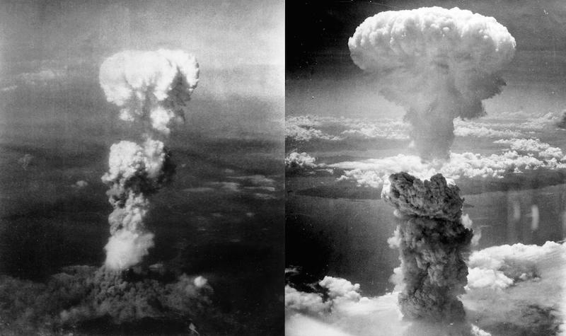 Cloud after the Hiroshima bomb (left) and Nagasaki (right) .