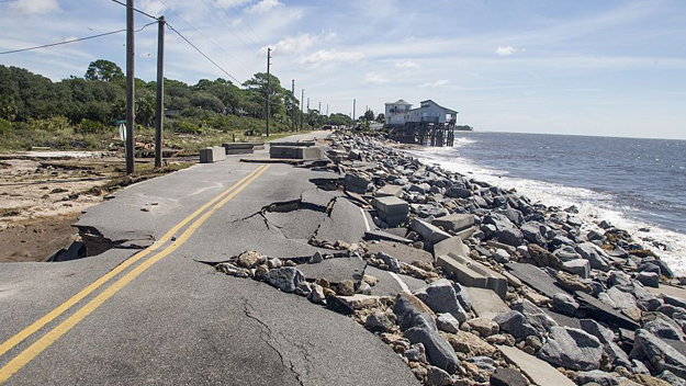 Alligator Point road collapsed during the storm surge from Hurricane Hermine at Alligator Point, Florida