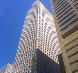 Height: 698 Feet  Stories: 52  Completed: 1983  Use: Office  Location: 17th Street and Broadway  Architect: Philip Johnson