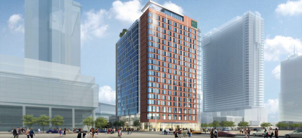 Rendering of the planned AC Hotel/Le Meridien Hotel. Image Courtesy White Lodging.
