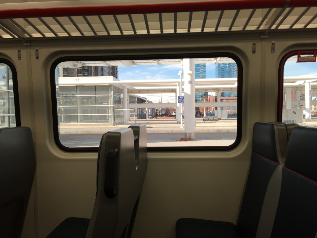 View out the window of RTD Commuter Rail Car