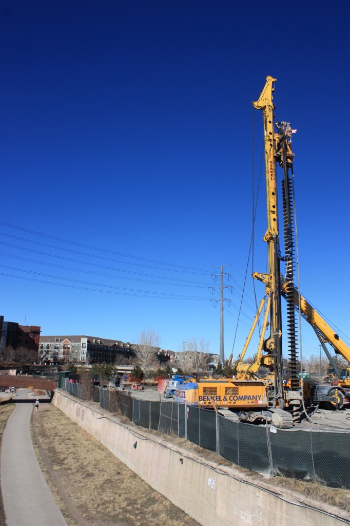 Below grade work continues on The Confluence luxury apartment project. Denver Urban Review Feb. 2015