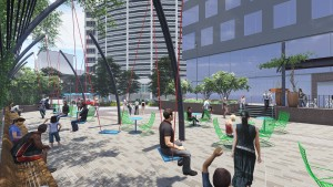 Rendering of the public space adjacent to the Triangle Building. Image courtesy Newmark Grubb Knight Frank
