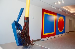 """Ground Floor entrance of the ART hotel. The painting on the wall is Sol LeWitt's """"Wall Drawing"""". In the foreground is miniature version of Claes Oldenburg and Coosje van Bruggen's """"Big Sweep"""" sculpture that is feature outside of the Denver Art Museum."""
