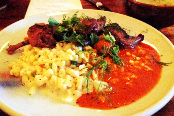 squab 'paprikas' with spatzle and mushrooms at bar tartine