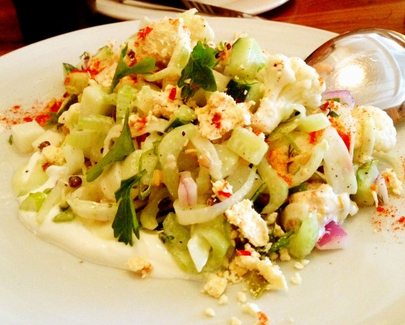 chopped vegetable salad at bar tartine