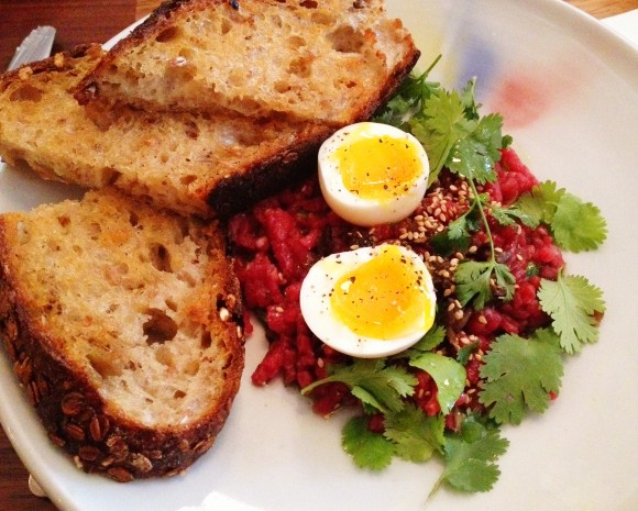 beef tartare with egg and coriander at bar tartine