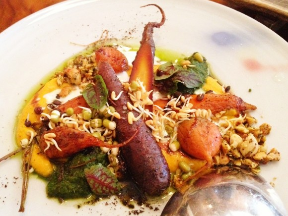 curried carrots in kefir buttermilk with spiced hazelnuts