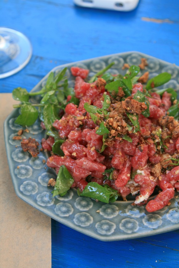 beef tartare with watercress