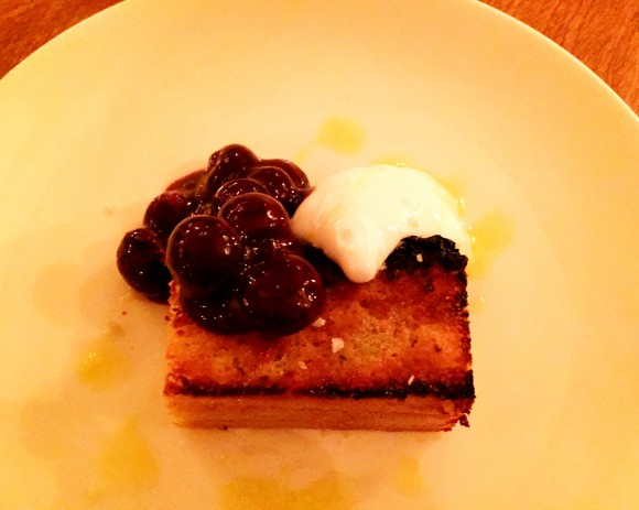 toasted olive oil cake with lavender milk and blueberries