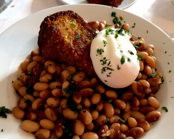 yellowed eye beans with cornbread and poached egg