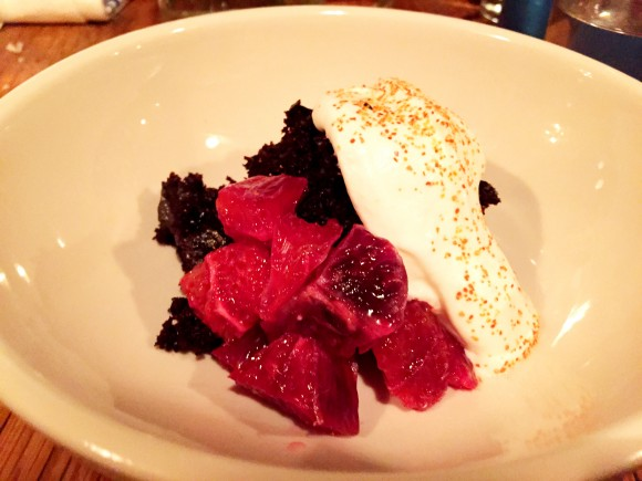 chocolate cake with togarashi, blood orange and whipped cream
